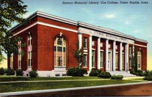 Iowa Cedar Rapids Stewart Memorial Library Coe College Curteich