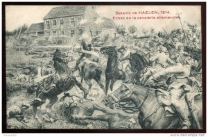 dc789 - BELGIUM Military WWI 1914 Battle of Haelen. Cavalry Soldiers in Battle.