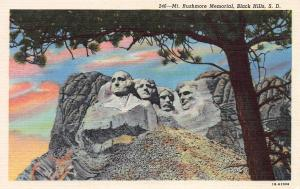 Mount Rushmore Memorial, Black Hills, South Dakota, Early Linen Postcard, Unused