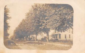 Humeston Iowa~Street Scene~Homes Along Dirt Road~Shade Trees~1908 RPPC