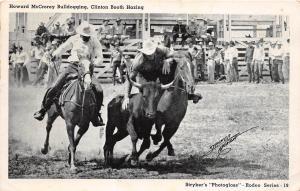 B21/ Rodeo Cowboy Horses Postcard c1940s Howard McCrorey Bulldogging 15