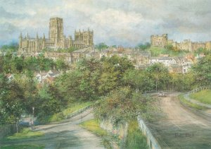Art Postcard, Durham City from Gilesgate by Pat Bell NA11