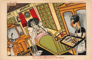 G19/ Interesting Postcard French Woman Green Throwing Up Puke Train S Tick