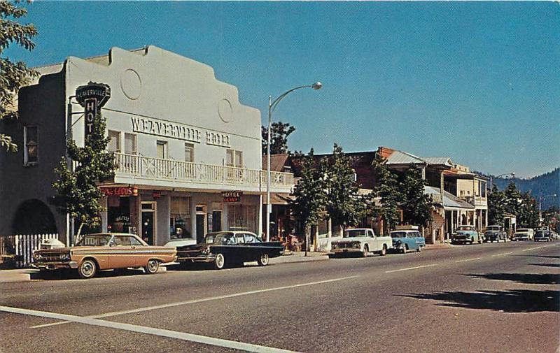 Weaverville Ca California Street Scene Hotel C1950s Cars Postcard