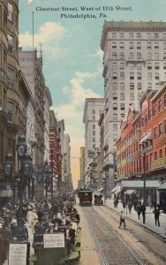 PHILADELPHIA, Pennsylvania, 1912; Chestnut Street west from 11th St., Trolleys