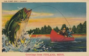 FINLAND, Minnesota, 1940; Greetings, The First One I Caught, Large fish at ...