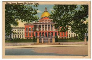 Boston MASSACHUSETTS The State House, Beacon Hill Vintage Linen Postcard