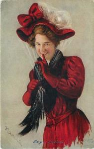 Artist Signed~Expectation~Eager Lady~Red Hat Gloves Coat~Finger To Lips~Smiles