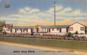 Knoxville Illinois Villa Motel Street View Antique Postcard K42895
