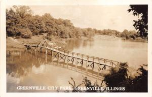 Greenville Illinois~Greenville City Park~Rustic Bridge Across Water~1940s RPPC