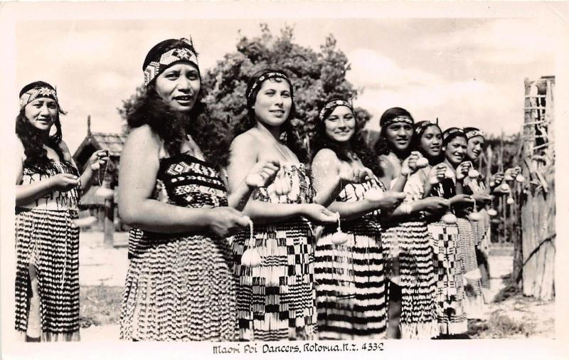 B91/ New Zealand Photo RPPC Postcard Maori c1952 Natives Poi Dancers Rotorua 3