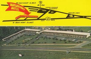 Washburns Motel North Carolina Rocky Mount Map Postcard