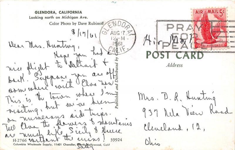 glendora california michigan avenue north storefronts 50s cars 1961 postcard hippostcard glendora california michigan avenue