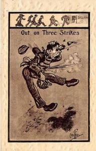 Out on Three Strikes Base Ball Baseball  Post Card Out on Three Strikes