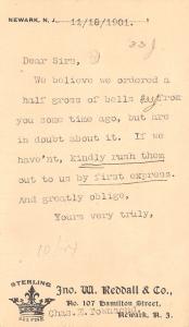 Newark NJ~John W Reddall & Co~Sterling Silver~Bell Order NN Brass CT~1901 Postal