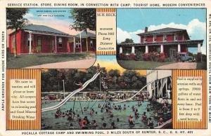 Sumter South Carolina Pocalla Cottage Camp Pool Antique Postcard K26261
