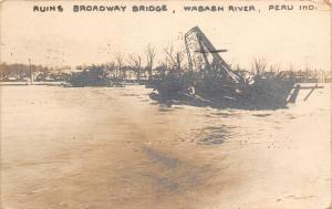 Peru Indiana~Broadway Bridge Ruins~Lost 3 Span Pratt Thru Truss~Flood 1913~RPPC