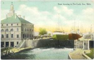 Boats Lowering In Poe Lock, Soo , Michigan, 1900-1910s
