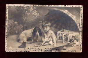 017795 boys & toys & BASSET HOUND.Vintage photo