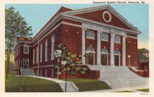 Paducah KY Immanuel Baptist Church~Big Round Windows on the Gable~1940s Linen PC