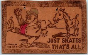 Vintage LEATHER Postcard Artist-Signed A.R.P. Man on Ice Skates / Horse 1906