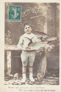 1er Avril April Fool's Day Young Boy Holding Fish 1912