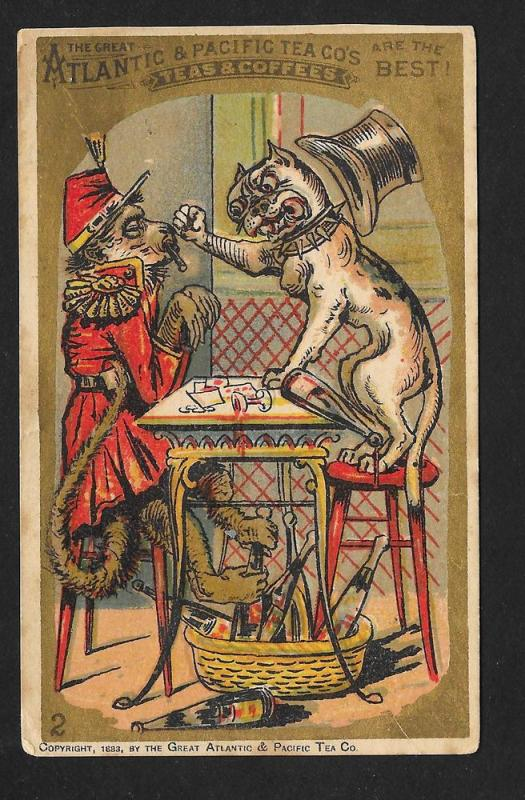 VICTORIAN TRADE CARD A&P Tea & Coffee Dog & Monkey