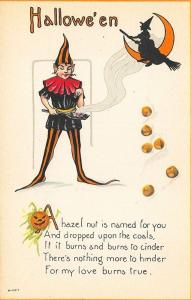 Rare Halloween Poetry Witch Jester Postcard