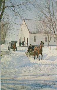 Vintage Postcard Mennonite Sleighs PA Dutch Amish Mel Horst