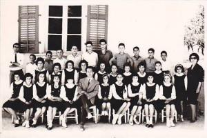 RP: 	Class picture Students & teachers,  Omodos School , CYPRUS , 1950-60s 2/6