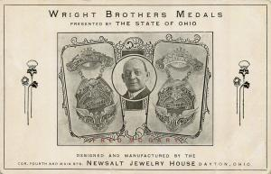 1909 Dayton Ohio Postcard: Newsalt-Designed Medals for Wright Brothers – Rare!