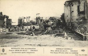 CPA Guerre 1914-15-16-17... Ercheu La sucrerie apres l'Explosion (121093)