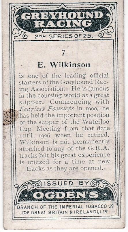 Cigarette Cards Ogden's Greyhound Racing Second Series No 7 E. Wilkinson
