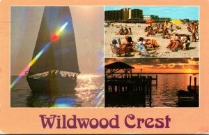 New Jersey Wildwood Crest Multi View Sunset Sailing and Beach View 1996