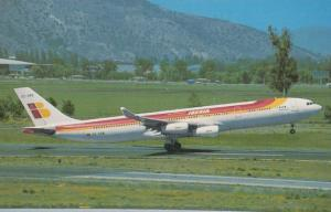 Airbus Industrie A340-313 EC-GPB of Iberia Airlines at Santiago Airport Postcard