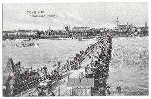 Cöln am Rhine Deutz und Schiffbrücke 1908 Cologne, Germany, Ships, Bridge