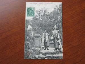 French Indo China Postcard Used 1908 Annam Cheif of the Bonzes Marbre Pagoda