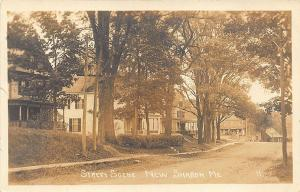 New Sharon ME Dirt Street View in 1917 RPPC Postcard