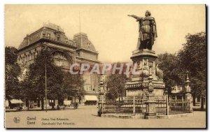 Old Postcard Van Ghent Statue Arteveide