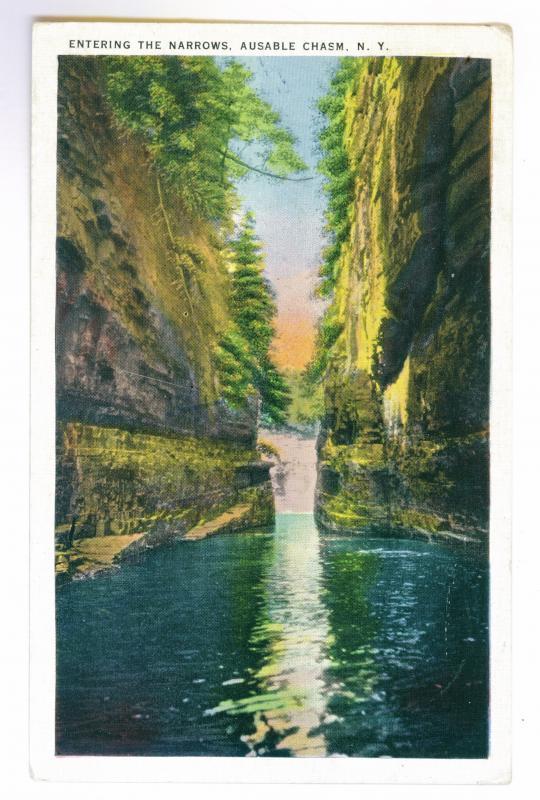 Bolton, New York to Nashua, New Hampshire used 1940 Postcard, Ausable Chasm