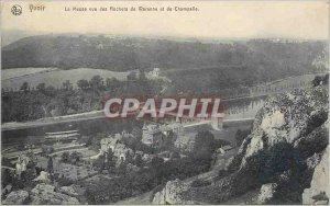 Old Postcard Yvoir La Meuse view Warrenne Rocks and Champalle