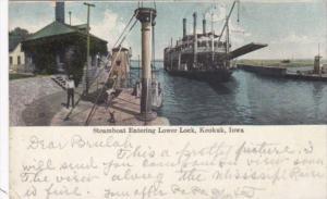 Iowa Keokuk Steamboat Entering Lower Lock 1908