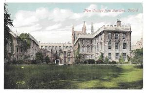 UK Oxford New College from Gardens Vintage Postcard