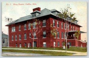 Cadillac Michigan~Mercy Hospital~Man in Front Yard~Small Trees~1911