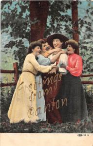 Oklahoma Ok Postcard 1908 Greetings from CANTON Women Man