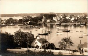 Glouster MA~Homes on Land Mass~Schooners This Side~Sailboat on Other~RPPC c1931