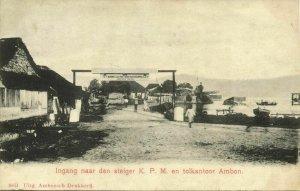 indonesia, MOLUCCAS MALUKU AMBON, Entrance KPM Wharf, K.P.M. (1899) Postcard