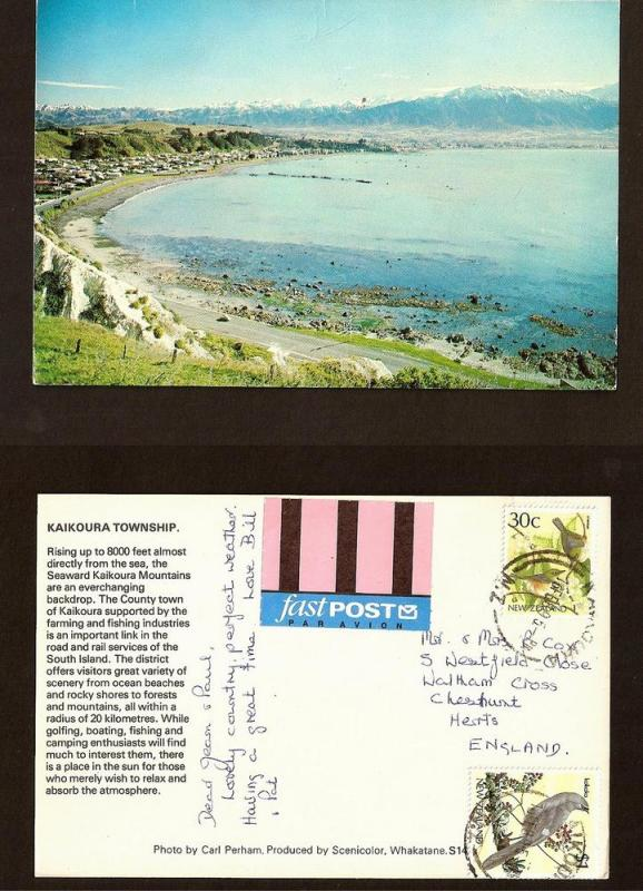 NEW ZEALAND POSTCARD-STAMP-KAIKOURA TOWNSHIP