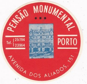 Portugal Porto Pensao Monumental Diameter Vintage Luggage Label sk2388