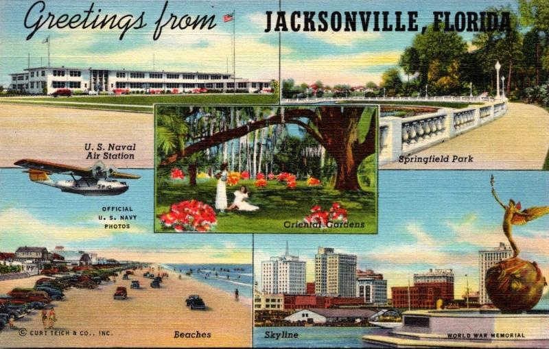 Florida Greetings From Jacksonville Multi View Curteich